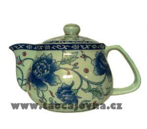 Čínská porcelánová konvička, Gaiwan s květy