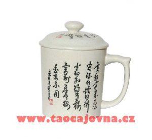 Bílý zdobený hrnek Makabi – Hrnek s čínskou kaligrafií