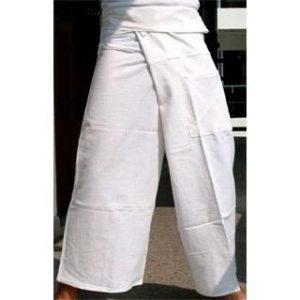 Bílé samurajské kalhoty – Zavazovací plátěné kalhoty