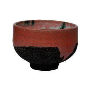 Autorský chawan na matchu – Růžovo-černý chawan