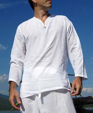 Bílé lehké triko s výšivkou – Triko s dlouhým rukávem