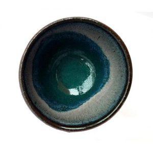 Hnědá miska modrá glazura – Kalíšek se stékanou glazurou