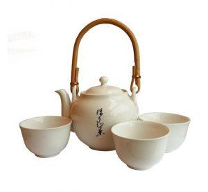 Japonská porcelánová sada – bílá – Souprava na čaj s kalíšky