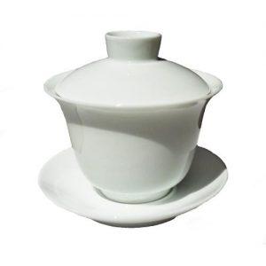 Větší čistě bílý zhong na čaj z porcelánu – 170ml