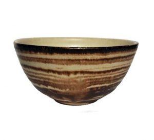 Hnědá pruhovaná miska na čaj – Pruhovaný keramický kalíšek