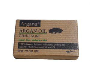 Malé cestovní mýdlo s arganem, Máta, Verbena, Zelený čaj, Argan