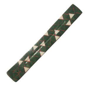 Stojánek na tyčky – keramický, Zelený stojánek na vonné tyčky