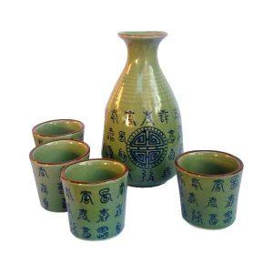Celadonový set na sake, zelený saké set se znaky