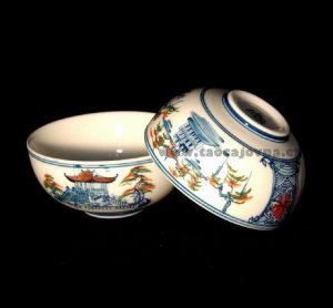 Miska na čaj střední barevná, Čajová miska s chrámem