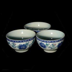 Malá čajová mistička modrá, Kalíšek na čaj modré květy