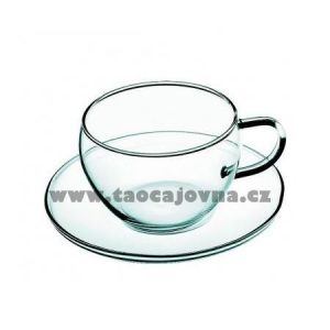 Čajový hrneček skleněný, Hrnek 250ml s podšálkem