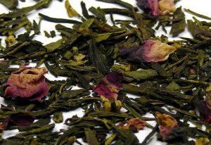 Zelený broskvový čaj – Sencha Maharádža – s růžemi