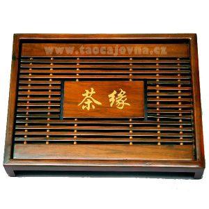 Bambusové čajové moře s čínskými znaky – tmavé
