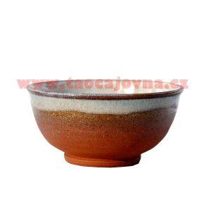 Čajová miska hnědá červená – Glazovaná přírodní miska