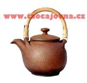 Konvička na čaj z keramiky – klasická hnědá matná 0,6l