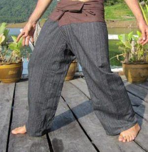 Samurajské kalhoty hnědo-černé