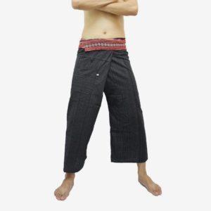 Plátěné kalhoty černé s pasem