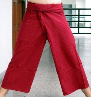 Pohodlné kalhoty červené