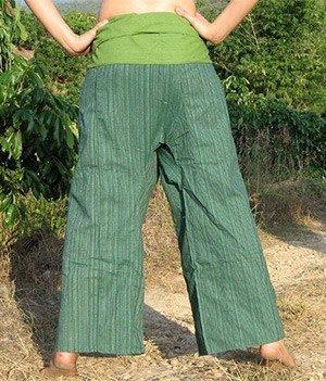 Bavlněné kalhoty zelené pruhy