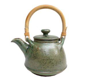 Keramická čajová konvička – Černá zelená – objem 0,6litru