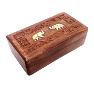 Dřevěná krabička – zdobená slony