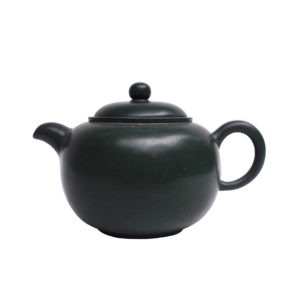 Kulatá tmavě zelená lesklá yixingová konvička – 200 ml