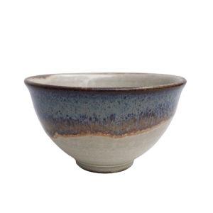 Béžová miska s modrým okrajem – velká – 250 ml