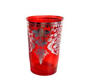 Arabská sklenička červeno-stříbrná