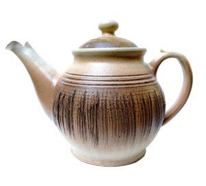 Velká čajová konvice 1,2l – hnědá keramická konvice zdobená škrábáním