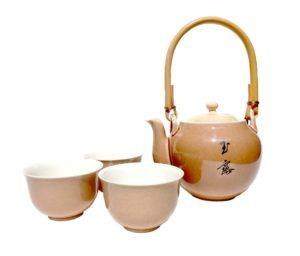 Japonská porcelánová sada – světle hnědá – Souprava na čaj s kalíšky