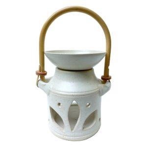 Aromalampa z keramiky – světlá lampička na esenciální vonné oleje