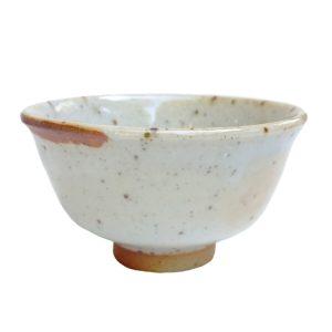 Béžová miska na čaj – Keramická miska z pece na dřevo