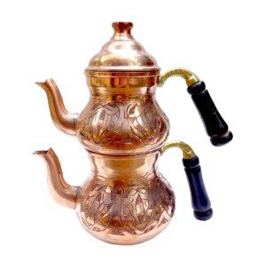 Turecká konvice na čaj – Měděný dvoudílný čajník