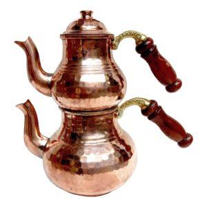 Turecká konvice na čaj – Měděný dvoudílný čajník s dřevěným uchem