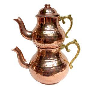 Turecká konvice na čaj – Měděný dvoudílný čajník tepaný