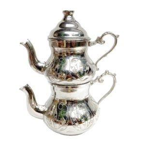 Turecká konvice na čaj – Dvoudílný nerezový čajník s ornamenty