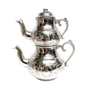 Turecká konvice na čaj – Dvoudílný čajník nerezový s ornamenty