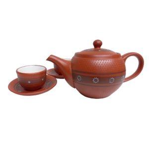 Keramická sada na čaj – Glazovaná konvička s miskami a podšálky