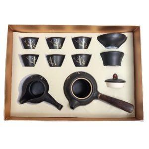 Japonská sada na čaj – Černá kyushu zdobená pozlaceným bambusem